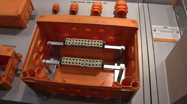 kopplingsdosa, brandsäker, plint, kablage, elinstallation