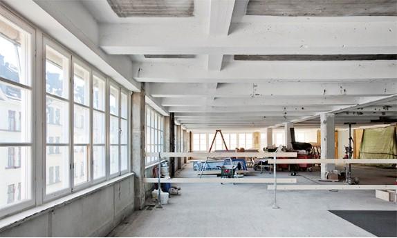 Chokaldfabriken, interiör, byggarbetsplats