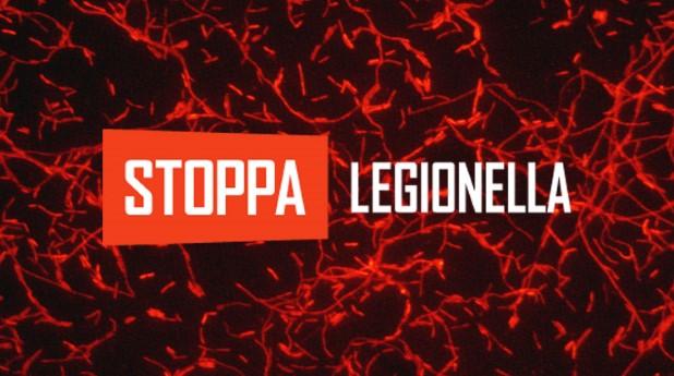 Legionellabakterier och logotypen Stoppa Legionella
