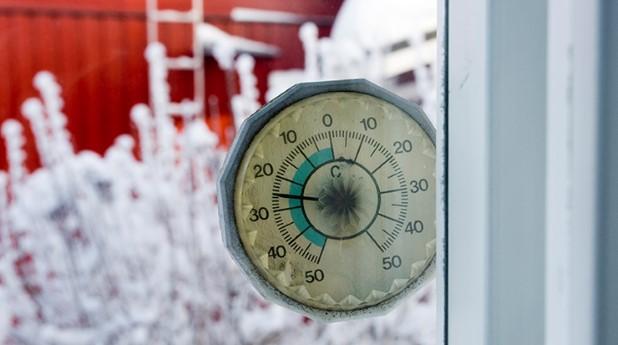 Termometer i ett fönster