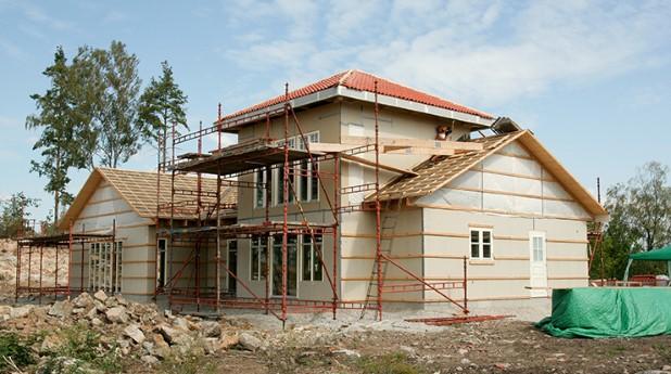 Småhus under byggnation