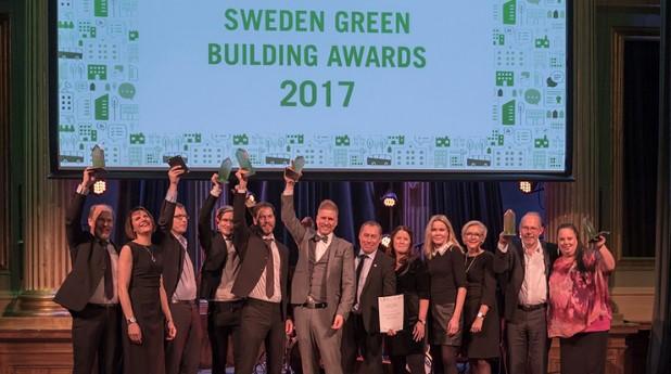 Bild från prisutdelningen av Sweden Green Building Awards på Nalen-sgbc-2017_ola-hedin_740x413