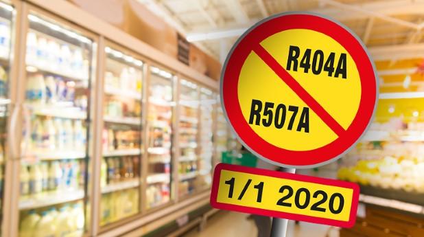 Förbudsskylt mot R404A, R507A i en livsmedelsbutik