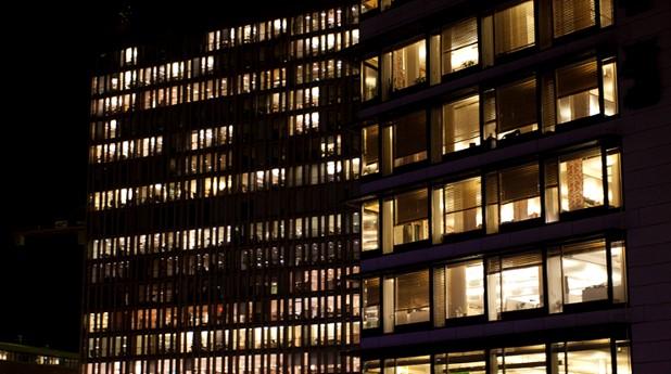 Byggnad på natten