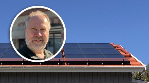 Solfångare på tak och Gunnar Lennermo