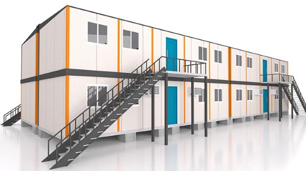 modulbyggnad i två våningar med utanpåliggande trappor_haider-azim