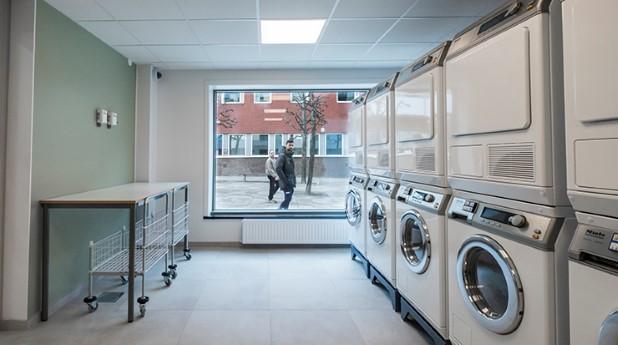 tvattstuga_mostphotos_tvättmaskiner och torktumlare i rad, i bakgrunden fönster där man ser personer utanför