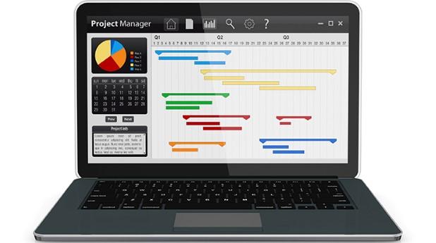 Bild av dator med en planerad tidplan för projekt.
