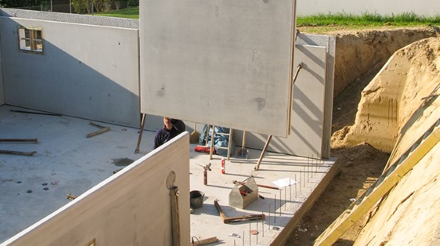väggelement, prefab, betong
